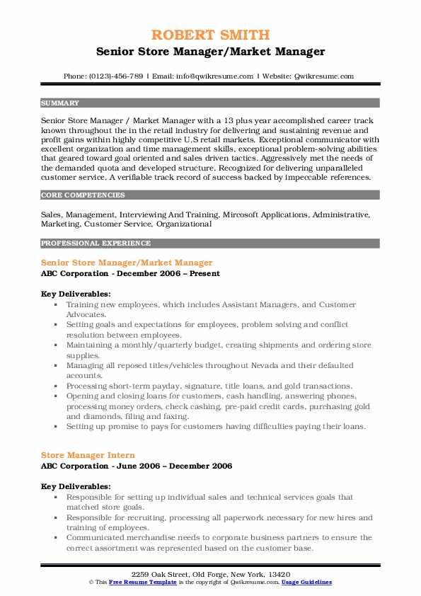 Senior Store Manager/Market Manager Resume Example