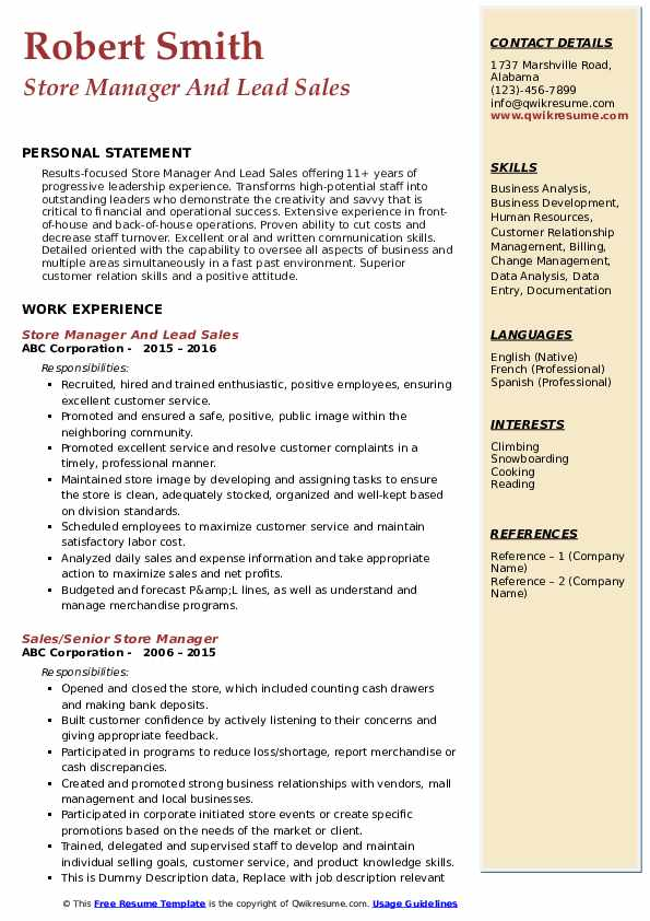 Store Manager And Lead Sales Resume Template