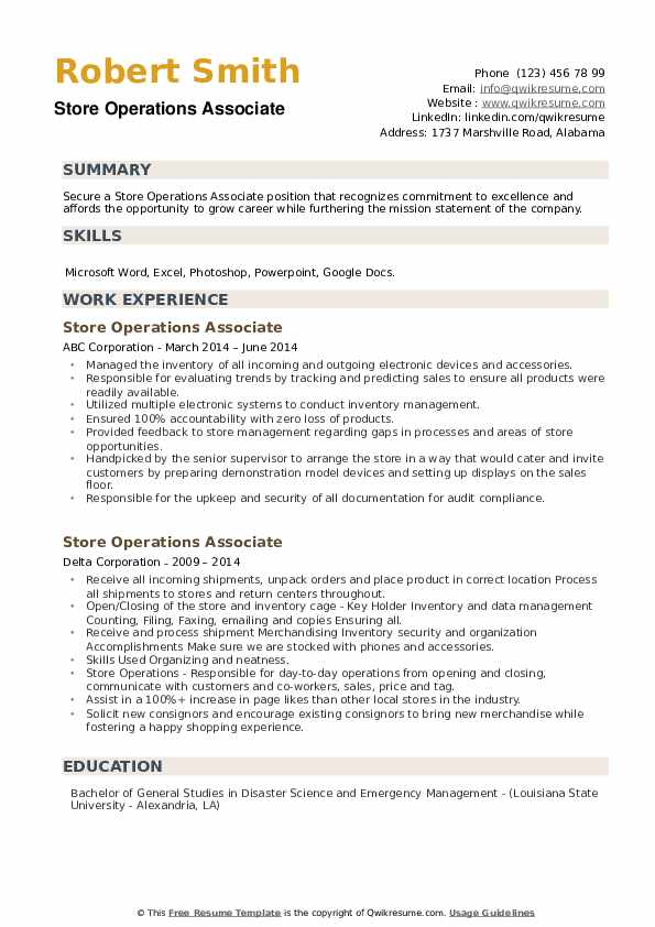 Store Operations Associate Resume example