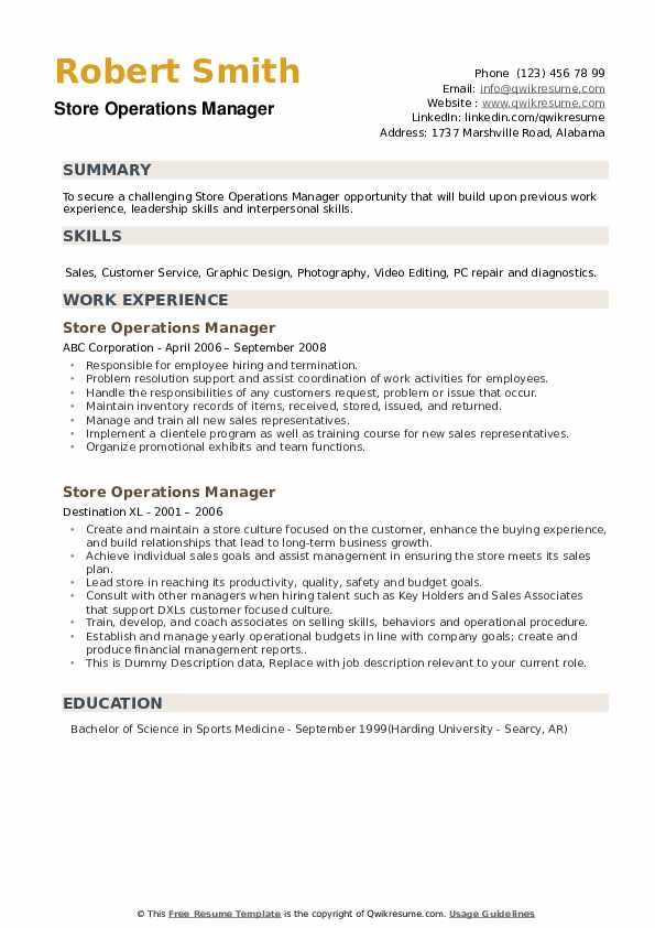 Store Operations Manager Resume example