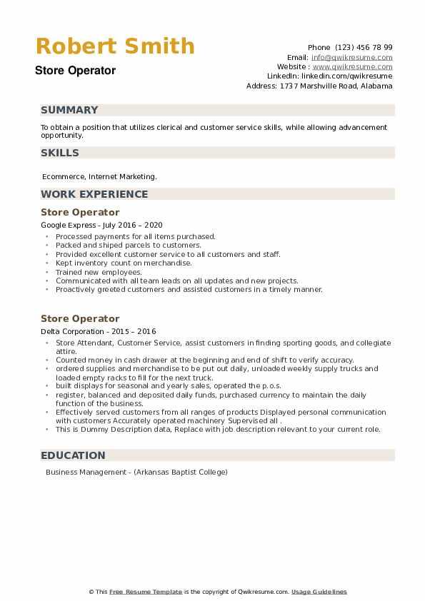 Store Operator Resume example