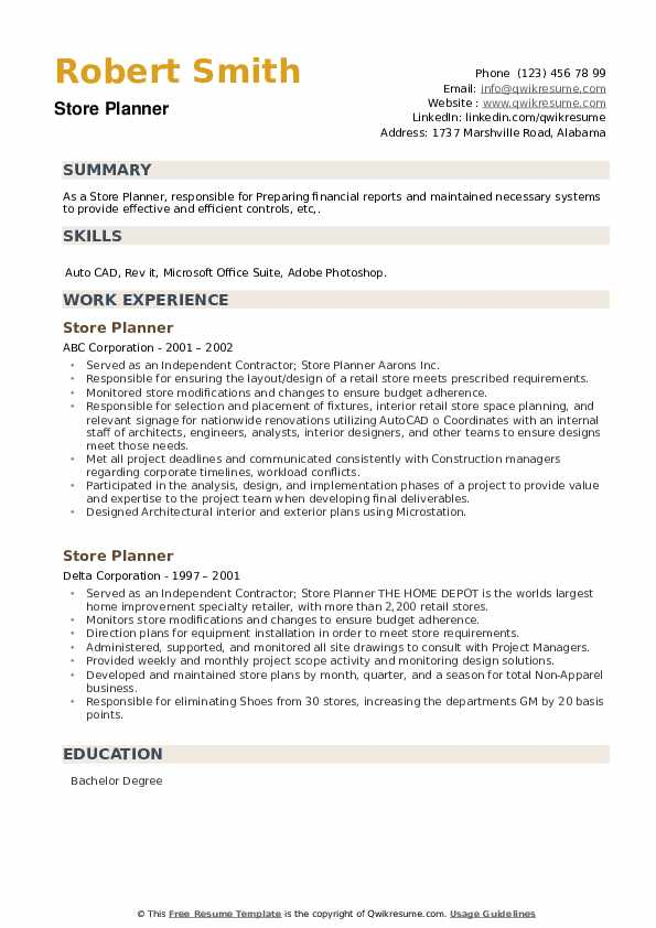 Store Planner Resume example
