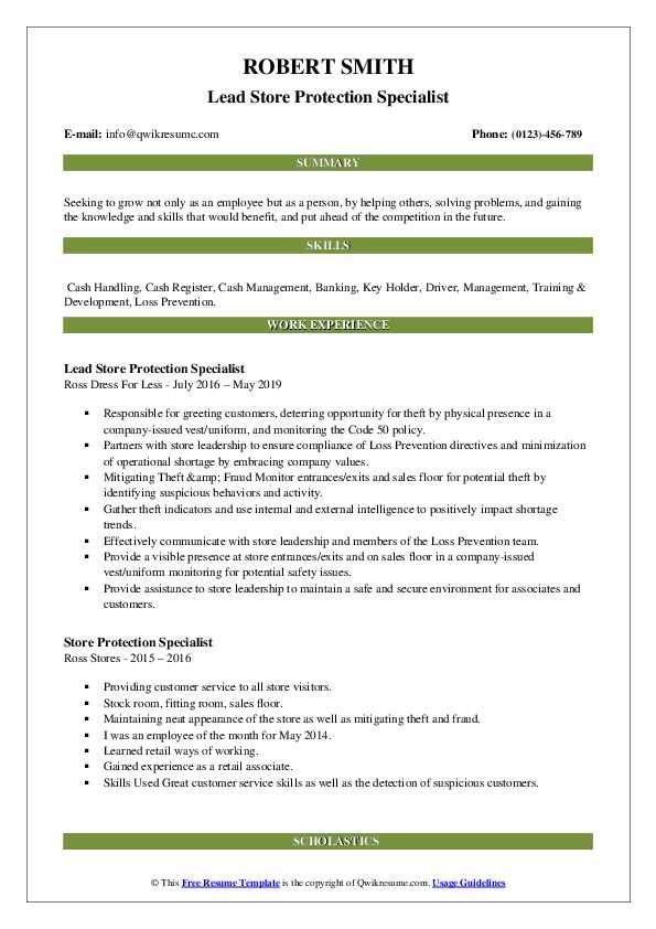 Lead Store Protection Specialist Resume Model