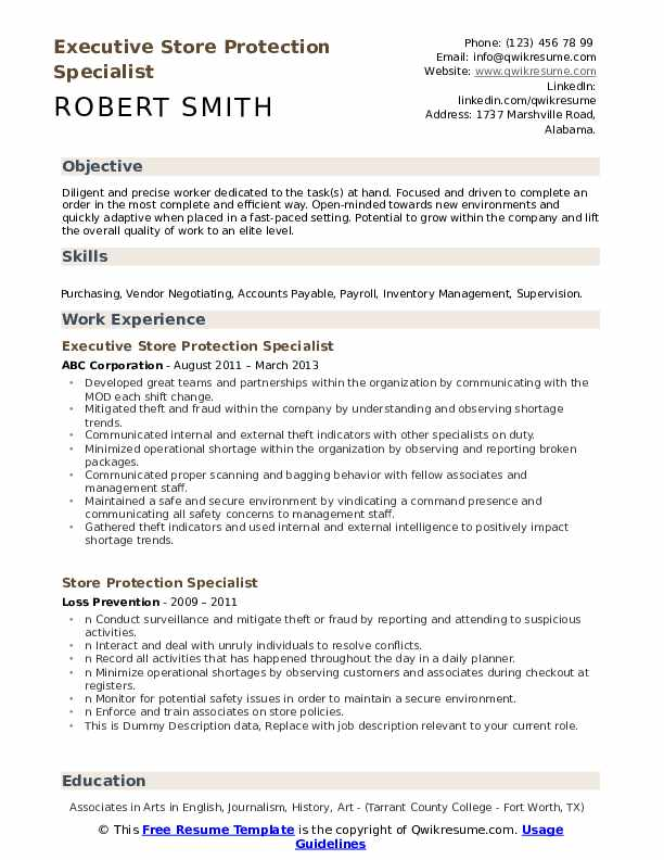 Executive Store Protection Specialist Resume Sample