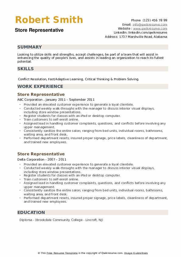 Store Representative Resume example