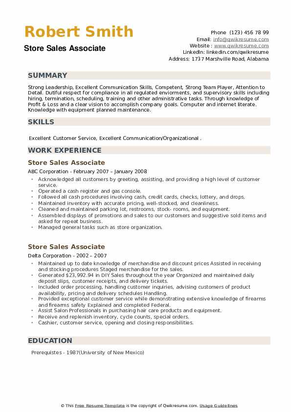 Store Sales Associate Resume example