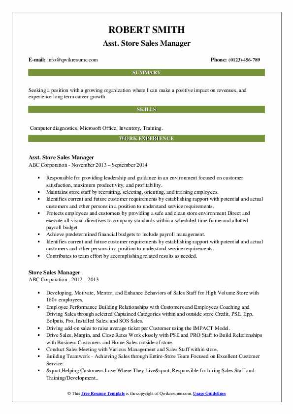 Asst. Store Sales Manager Resume Example