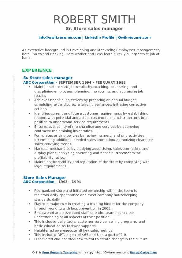 Sr. Store sales manager Resume Format