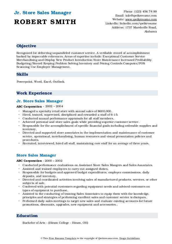 Jr. Store Sales Manager Resume Model