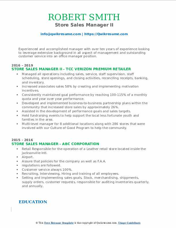 Store Sales Manager II Resume Format