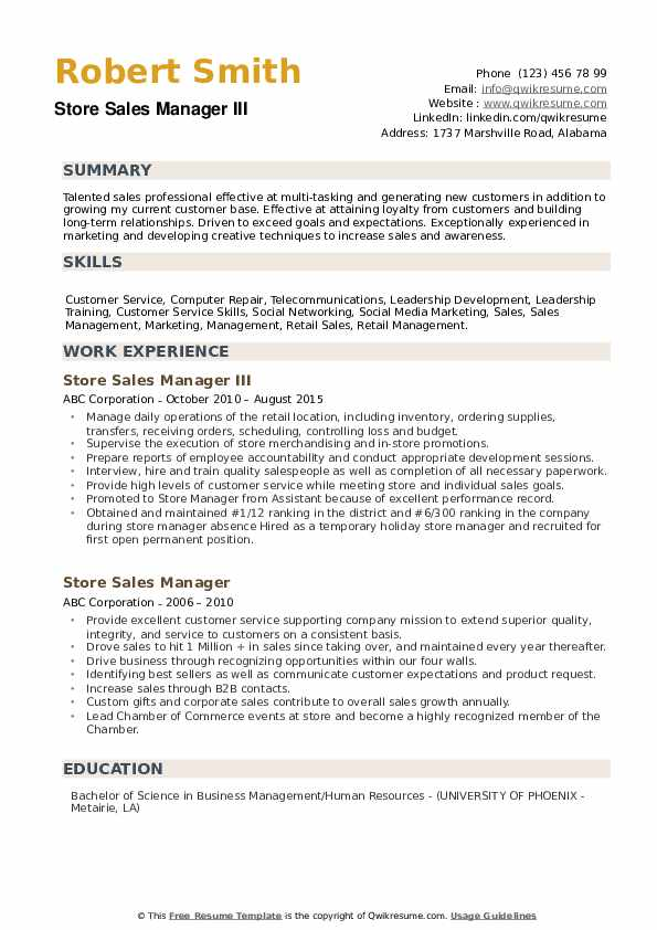 Store Sales Manager III Resume Model