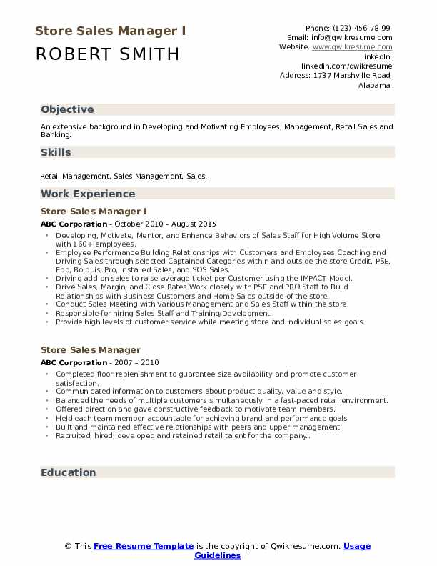 Store Sales Manager I Resume Template