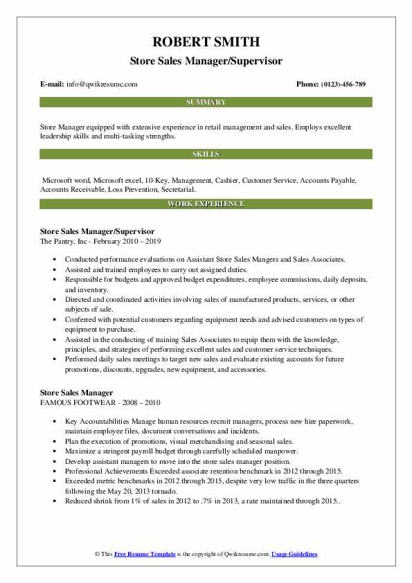 Store Sales Manager/Supervisor Resume Template