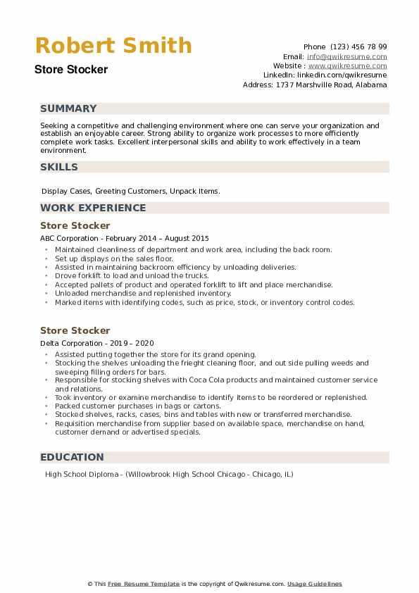 Store Stocker Resume example