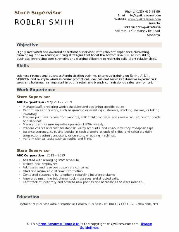 Store Supervisor Resume Template