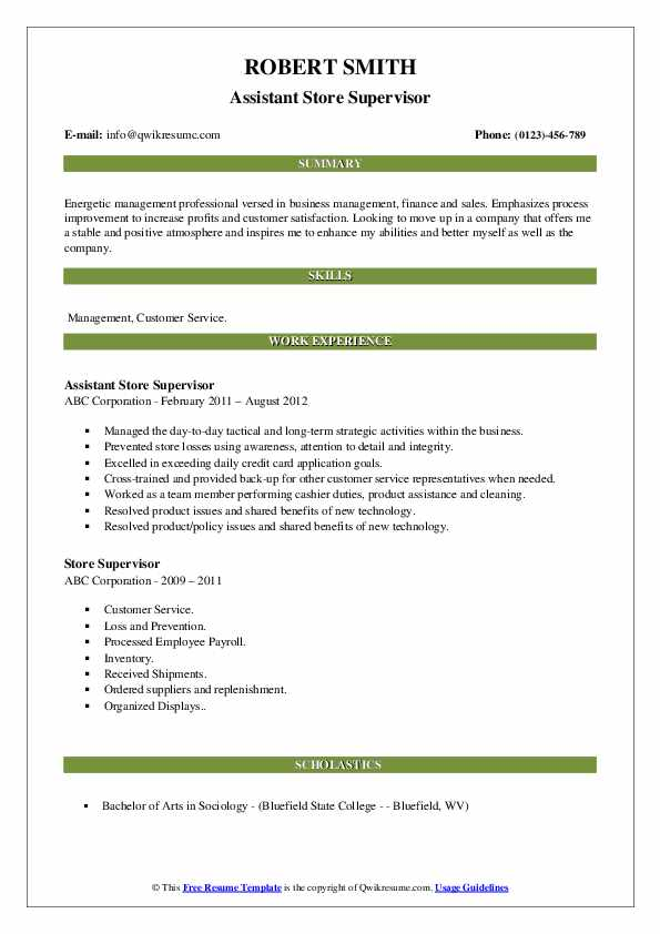 Assistant Store Supervisor Resume Sample