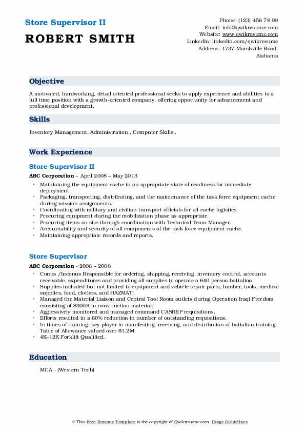 Store Supervisor II Resume Example