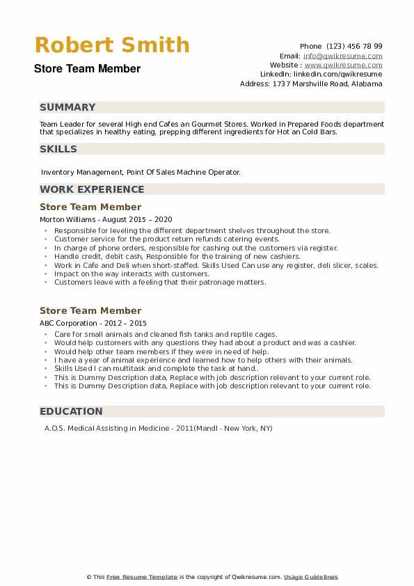 Store Team Member Resume example