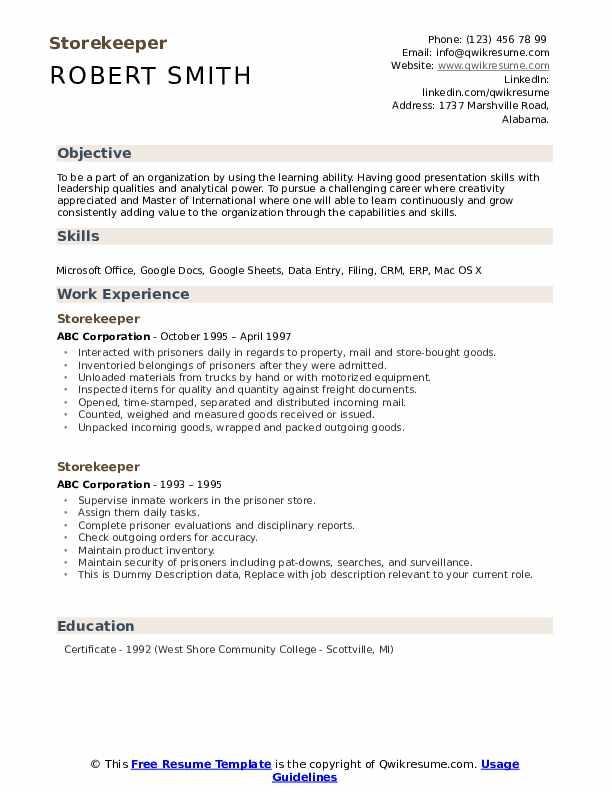 Storekeeper Resume example