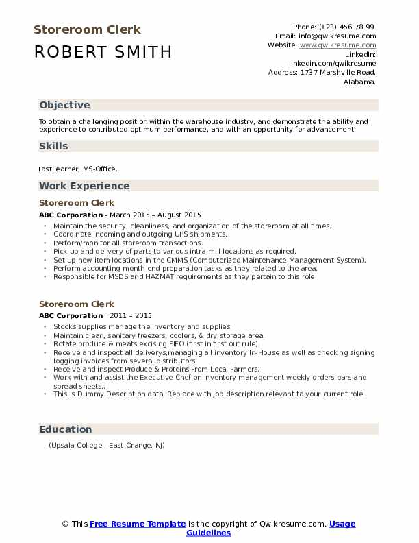 Storeroom Clerk Resume example