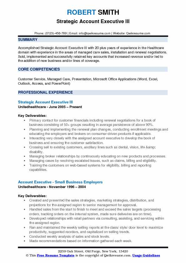 Strategic Account Executive III Resume Sample
