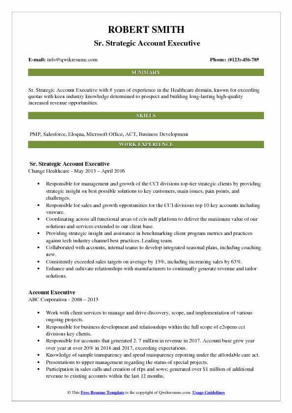 Sr. Strategic Account Executive Resume Template