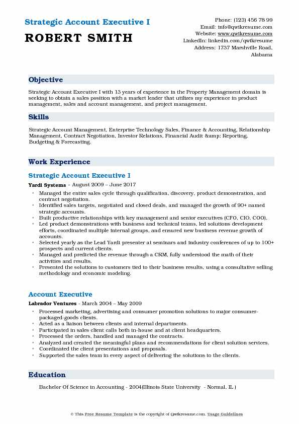 Strategic Account Executive I Resume Template