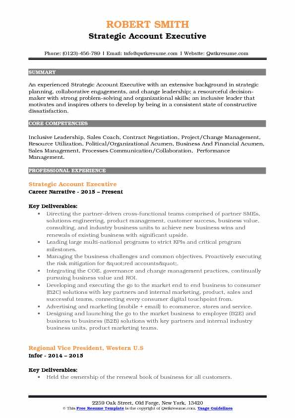 Strategic Account Executive Resume Example