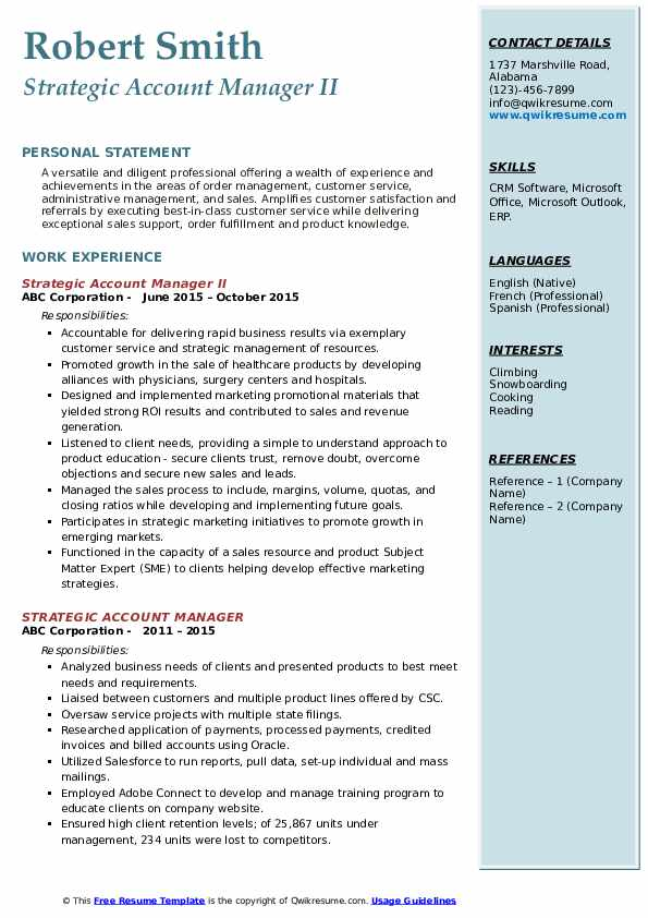 Strategic Account Manager II Resume Template