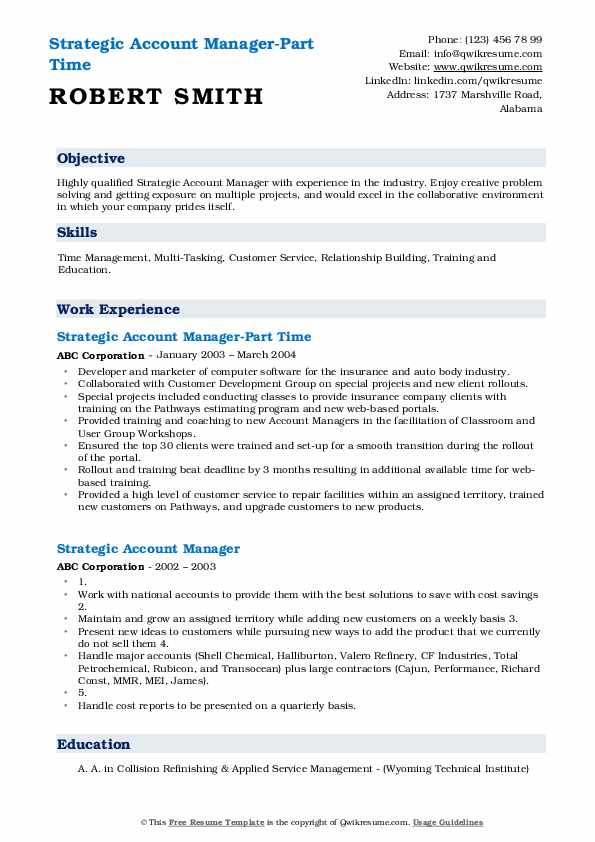 Strategic Account Manager-Part Time Resume Example