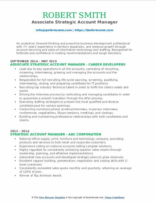 Associate Strategic Account Manager Resume Format