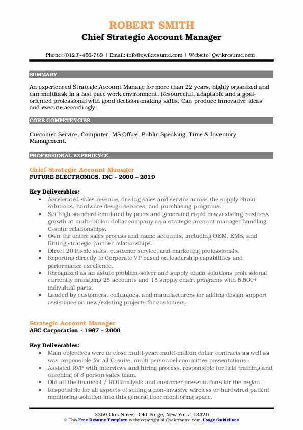 Chief Strategic Account Manager Resume Format