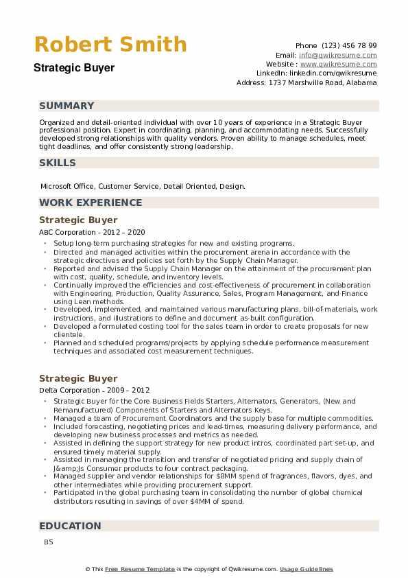Strategic Buyer Resume example