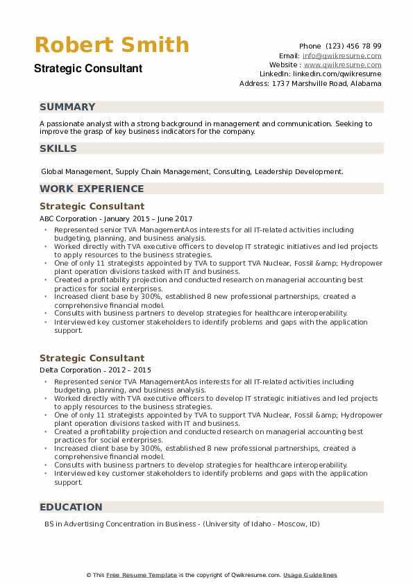 Strategic Consultant Resume example