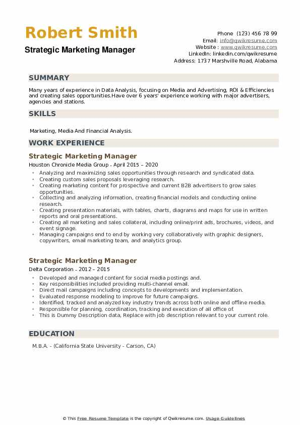Strategic Marketing Manager Resume example