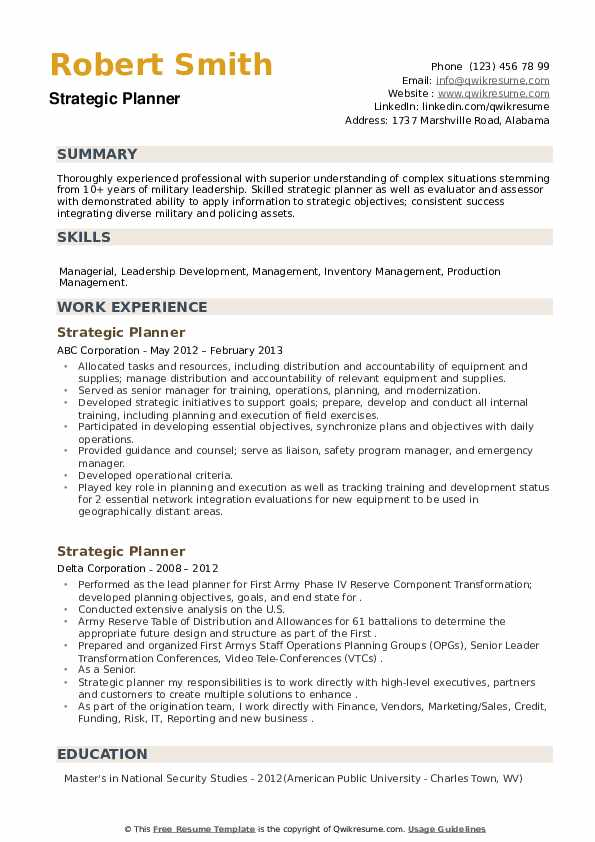 Strategic Planner Resume example