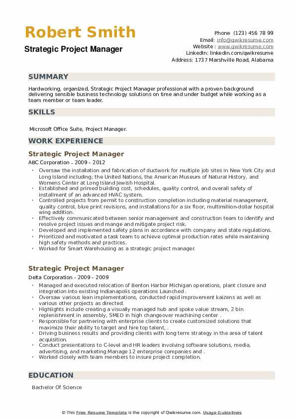 Strategic Project Manager Resume example