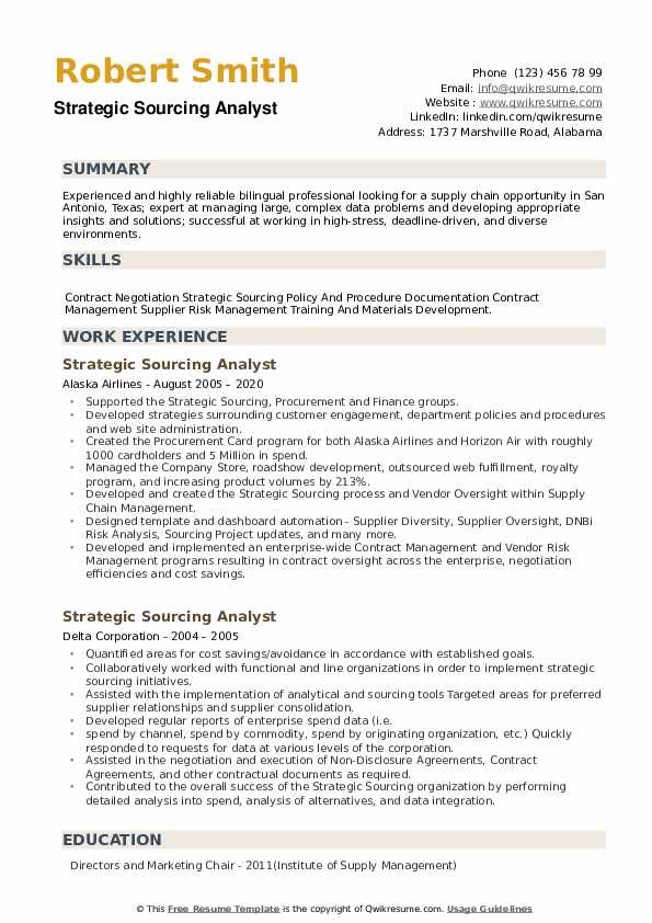 Strategic Sourcing Analyst Resume example