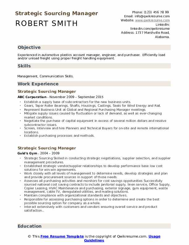 Strategic Sourcing Manager Resume example
