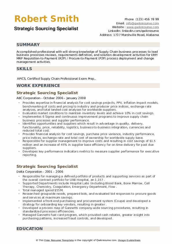 Strategic Sourcing Specialist Resume example