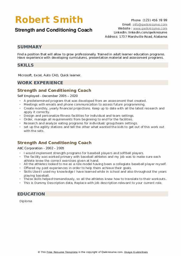 Strength And Conditioning Coach Resume example