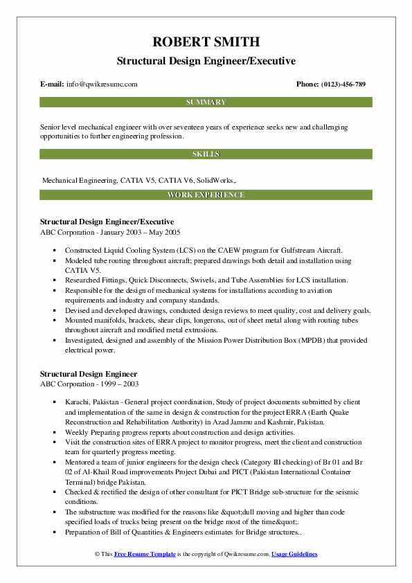 Structural Design Engineer Resume Samples Qwikresume