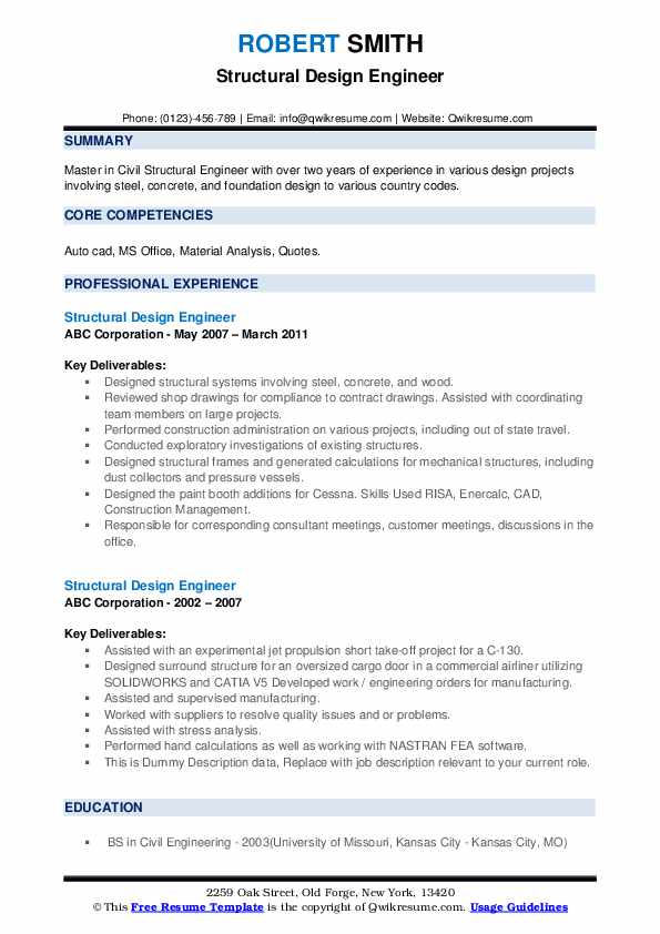 Structural Design Engineer Resume example