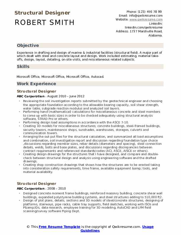 Structural Designer Resume Sample