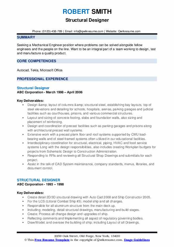 Structural Designer Resume Samples Qwikresume