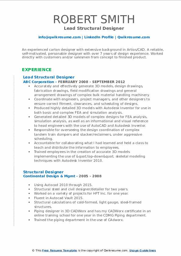 Lead Structural Designer Resume Template