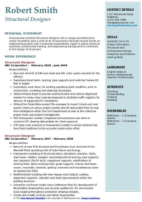 Structural Designer Resume Template