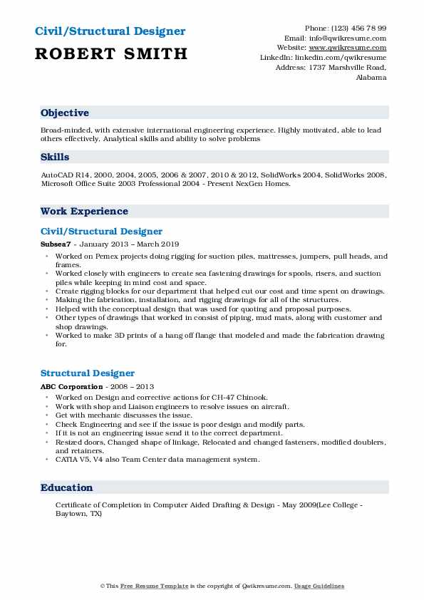 Civil/Structural Designer Resume Template