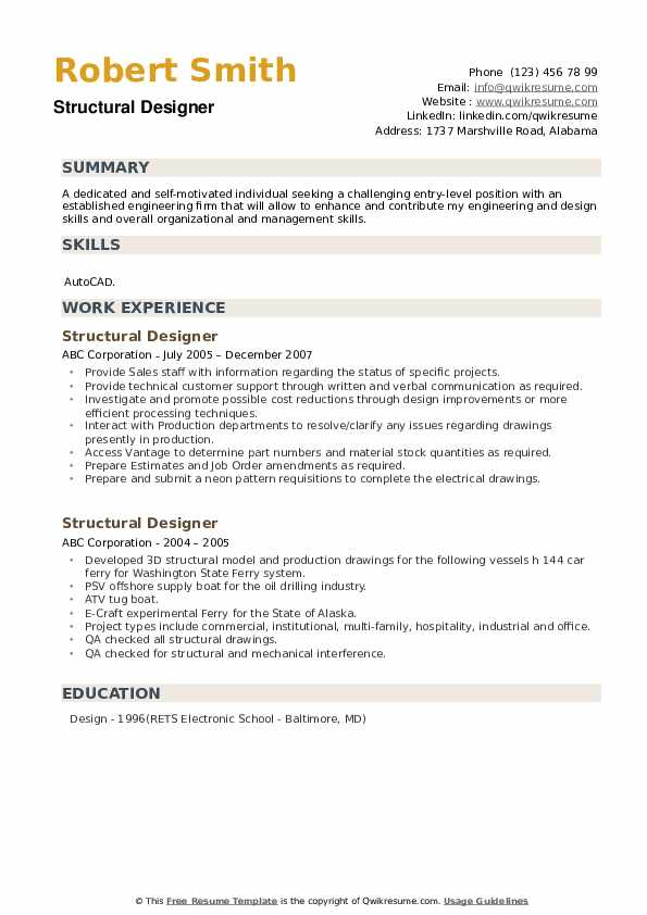 Structural Designer Resume Model