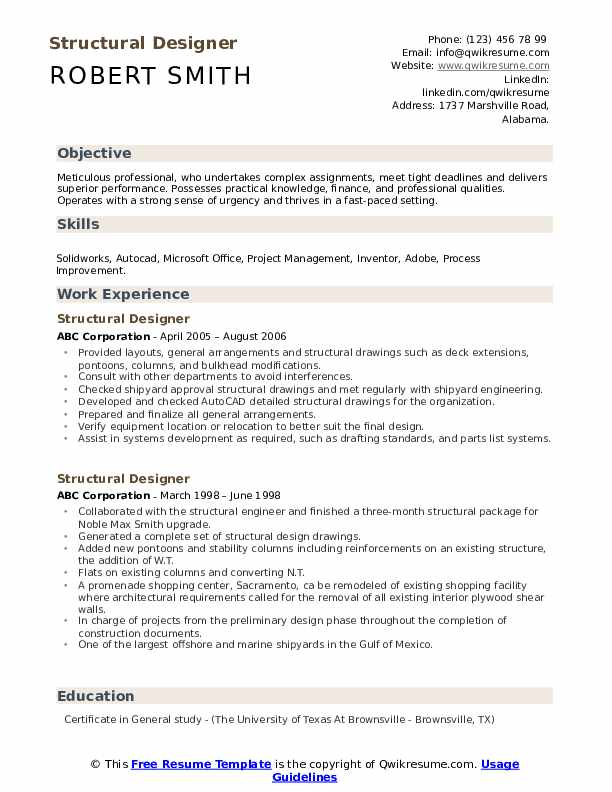 Structural Designer Resume example
